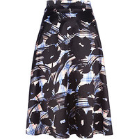 River Island Womens Blue check floral print midi skirt