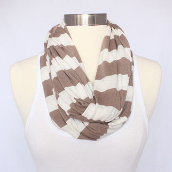 Jersey Knit Infinity Scarf - Cream and Taupe Striped