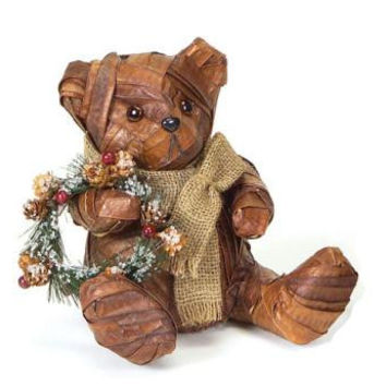 Rattan Bear Holding Wreath - Rattan Wrapped Teddy Bear Figure Is Posed Wearing A Burlap Scarf And Holding A Christmas Wreath
