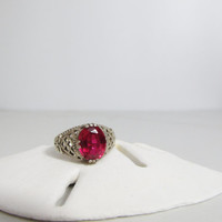 Vintage Ring: Sterling Filigree with Ruby Red Stone
