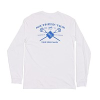 Lacrosse Long Sleeve Tee Shirt in White by Southern Tide