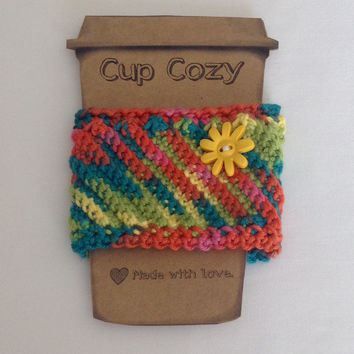 cup cozy, crochet cup sleeve, crochet cozy, crochet travel sleeve, green cup cozy