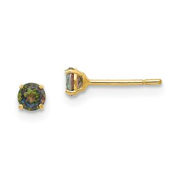 14k Yellow Gold Solid Round Mystic Rainbow Topaz 3mm Post Earrings
