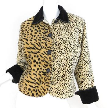 Sz S 80s Velvet Animal Print Jacket - Vintage Women's Boxy Leopard Cheetah Black Collared Jacket - Small 1980s 1990s Alternative Clothing