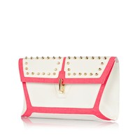 White color block studded clutch bag - bags / purses - sale - women
