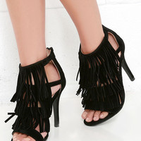Any Excursion Black Suede Fringe Dress Sandals