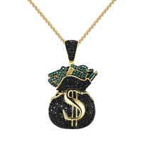 Hip Hop Money Bag Tank Pendant Black Green Simulated Diamond Iced Out Free Chain