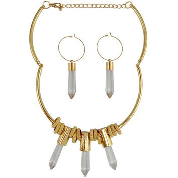 Artificial Crystal Pencil Shape Necklace and Earrings