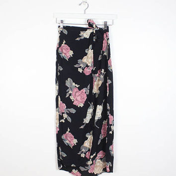 Vintage 1990s Skirt Dark Navy Black Pink Ditsy Floral Print Midi Skirt Faux Wrap Skirt Boho Rayon Soft Grunge Skirt 90s Skirt S M Medium L