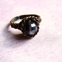 "Hammered ring ""Waiting for spring in lavender "" Copper ring For her Glass bead New Spring Fashion For mom"