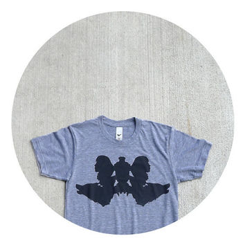 Mens t shirt - fall fashion - XL - Rorschach inkblot test on American Apparel heather gray track tees - Wolf Like Me