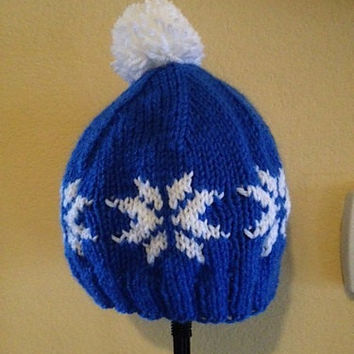I Love Animal Crossing - Blue Pom-Pom Hat - Knit Hat in Blue with White Snowflakes and Pompom