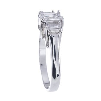 Plutus Brands 925 Sterling Silver Platinum Finish Emerald Cut Three Stone Engagement Ring 1.5 Carat Weight For Women