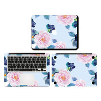 Peony Flower Computer Sticker Vinyl Film For Apple MacBook Air Pro Retina 11 13 15 Inch Decal Full Case Sticker Set For Laptop