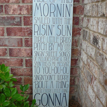 "Bob Marley - Three Little Birds Subway Sign - 11""x36"" tall Hand Painted and Distressed"