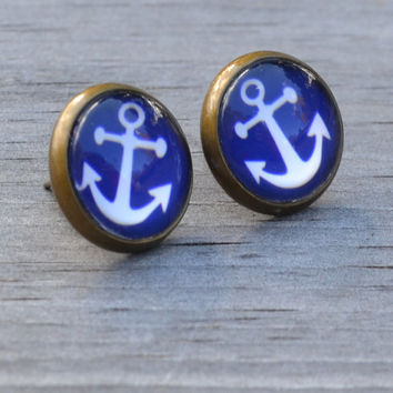 Anchor Earrings, Blue and White Anchor, Antiqued Brass, Nautical Glass Earrings, Stud Earrings, Post Earrings
