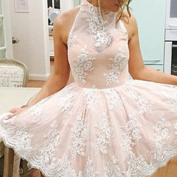 Halter Neck Homecoming Dress, Sleeveless Pink Lace Homecoming Dress, Short Prom Dress