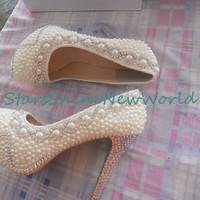 White/Ivory Pearls Women Wedding Shoes High Heels Handmade Bridal Shoes Platform Shoes Bling Heels