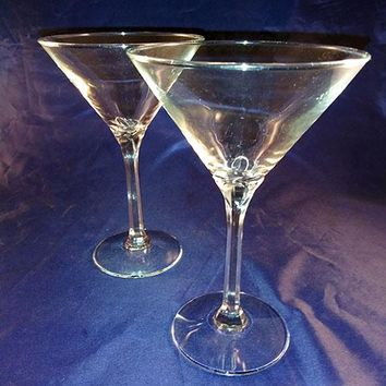 2 Beautiful Stem Martini Glasses