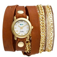 Women's La Mer Collections 'Arizona' Leather & Chain Wrap Bracelet Watch, 32mm x 30mm