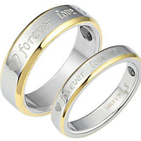 HIS AND HER COUPLE LOVE TWO TONE 18KT GOLD ENGAGEMENT AND WEDDING BAND