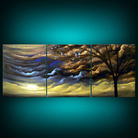 art original abstract painting metallic gold tree painting landscape painting sunset bird modern silhouette tree cloud 33 inch Mattsart