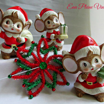 Christmas Homco Ceramic Figurines Santa Mice Set Three Holiday Decor Vintage