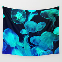 Blue Moon Jellyfish - Wall Tapestry