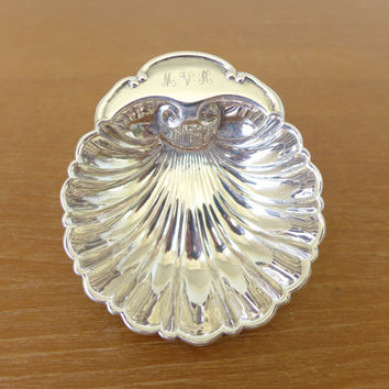 Small silver plate shell dish with MVH monogram