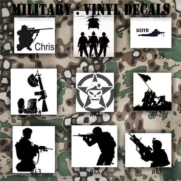 MILITARY vinyl decals - 37-45 - Army, Air Force, Navy and Marines - car decal - window sticker - vinyl sticker - vinyl decal