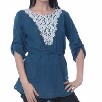 Women's Cotton Tunic Denim Tops with Accent Stitching - Sizes S-XL - CASE OF 36