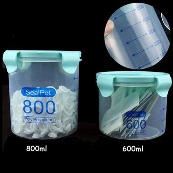600/800ml Permanent Makeup Storage Box Sealing Ink Cotton Jars Plastic Pot Garbage Container For Tattoo Needle Ring Cup Supplies