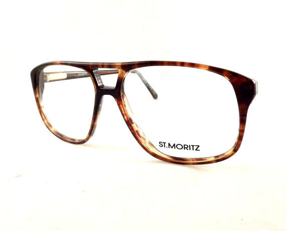 tortoise shell aviators big square mens eyeglasses vintage brown flexible temple arm glasses