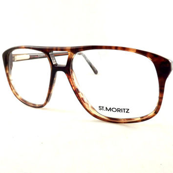 Tortoise Shell Aviators, Big Square Mens Eyeglasses, Vintage Brown Flexible Temple Arm Glasses, New Old Stock Frames