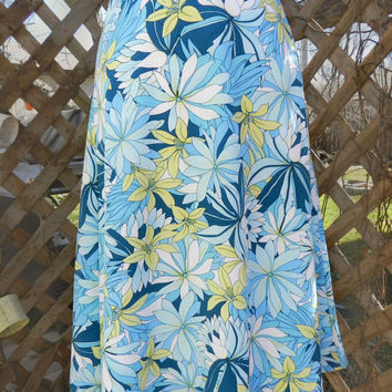 Vintage Floral Print Skirt, Hawaiian Blue Floral Skirt / Midi Length, Size Medium