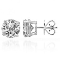 14K Solid White Gold Clarity Enhanced Diamond Solitaire Stud Earrings 5.86 Ctw