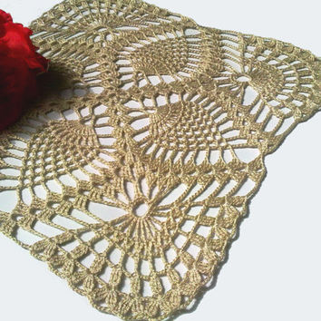 Crochet Square Doily, Pineapple Doily, Ivory, Table Centerpiece, Homedecor