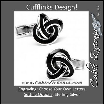 Men's Cufflinks- Sterling Silver Love Knot with Striking Black Enamel