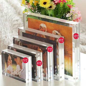 5 Inch 6 Inch 7 Inch 8 Inch Double-faced Crystal Photo Frame Desk Set Acrylic Photo Frame Free Shipping Hot Sale