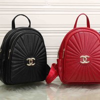 """Chanel"" Women Casual Simple All-match Fashion Quilted Letter Logo Double Shoulder Bag Small Backpack"