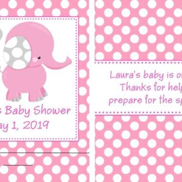 8 Pink Polka Dot Elephant Baby Shower Nail File Favors