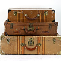 Suitcases Set Of Three, Old Suitcase, Vintage Luggage Set