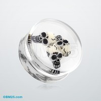 Death Skulls Inlay Double Flared Ear Gauge Plug