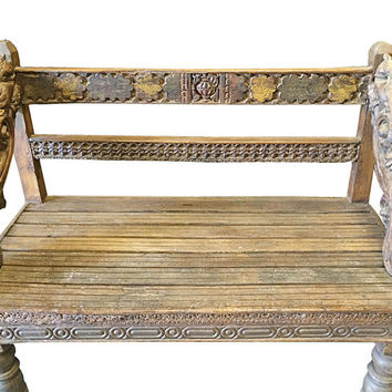 Antique Indian Corbels Teak Bench Rustic Accents India Furniture