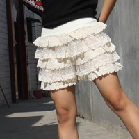 Lace shorts Base skirt  Shorts  Cake short  Divided skirts beige skirt shorts -----upgrade version  larger size   for more  girl woman