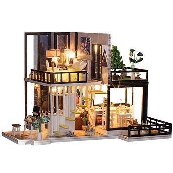 DIY Wooden Miniature Dollhouse \ With Furniture and  Dust Cover