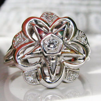 Vintage Order of the Eastern Star Diamond Ring Feminine Masonic Ring Synthetic Multicolored Stones 14K White Gold Ring Floral Diamond Ring!