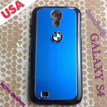BMW Samsung Galaxy S4 Case BMW 3D metal Logo Premium Cover for S4 / i9500 - Blue