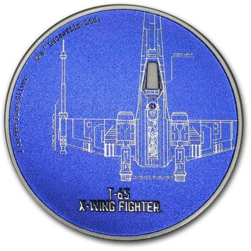 2017 Niue 1 oz Silver $2 Star Wars Ships: T-65 X-Wing Fighter