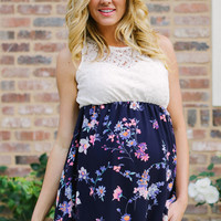 Navy Blue Floral Chiffon Crochet Top Maternity Tank